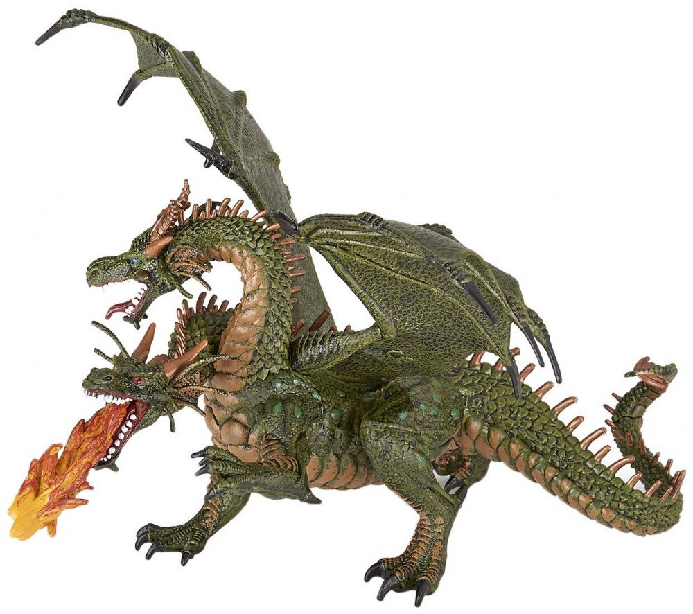 New 36019 Papo Fantasy World Two Headed Fire Dragon Collectable Figure Kids Gift